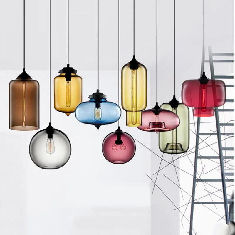 Nordic Modern Colorful Glass Bowl Pendant Lights E27 Loft Hanging Lamps For Kitchen Living Room Bedroom Restaurant Hotel Hall Modern Lamp Hanging Light Fixtures Wood Pendant Light