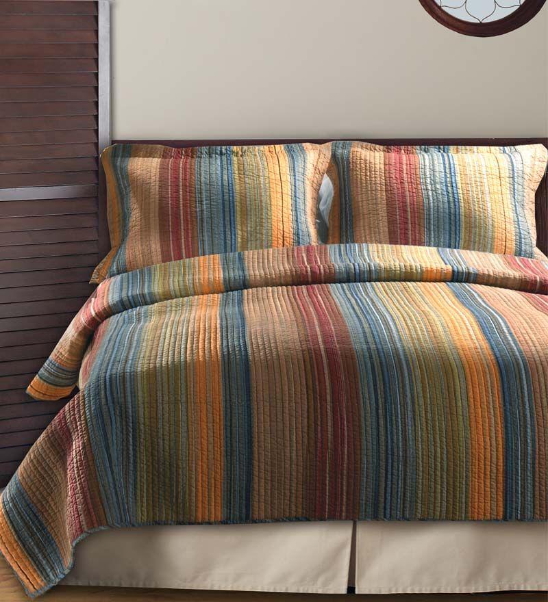 Multi Colored Striped Patchwork Cotton Quilt Set