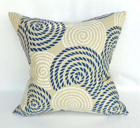 RobertAllenNauticaPillowCoverNavyBlueTanbyMyPillowStudio Simple Nautica Pillow Covers