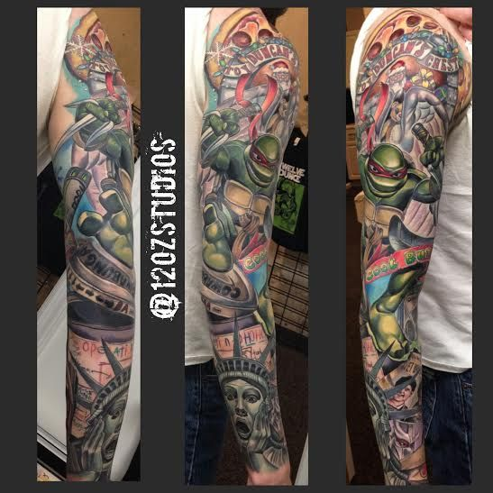 c3365d10240 Absolutely incredible full color male full sleeve Teenage Mutant Ninja  Turtles New York City Home Alone 2 themed tattoo by Meghan Patrick.