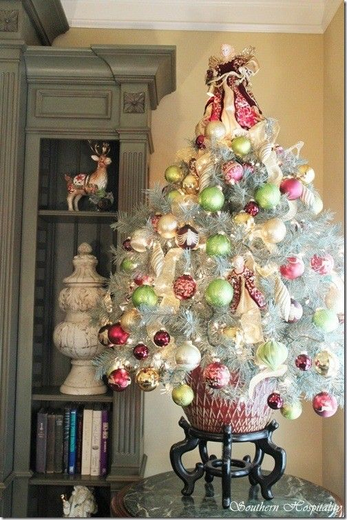 Silver Table Top Christmas tree with Red, Light Green,  White