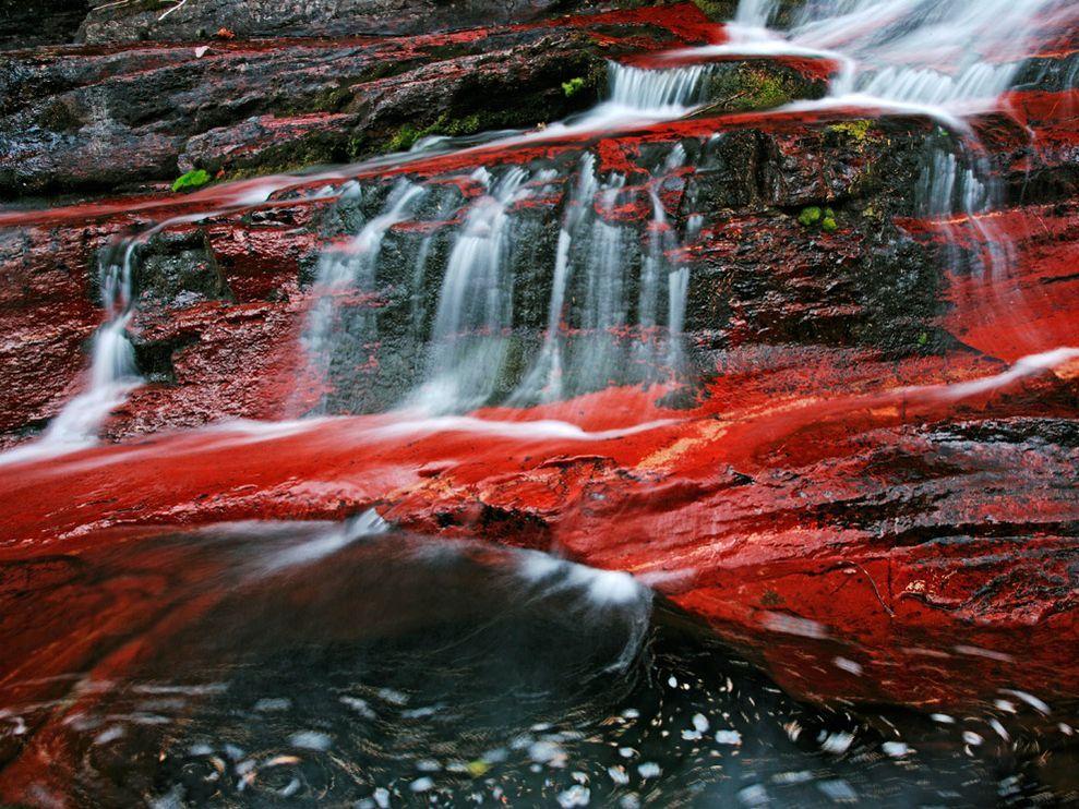 Rocas ricas en hierro crean una cama colo rojo en un arroyo de aguas rapidas en los lagos del parque nacional Waterton de Alberta. El parque de Canadá se encuentra a través de la frontera internacional de parque nacional Glacier en Montana, EUA.