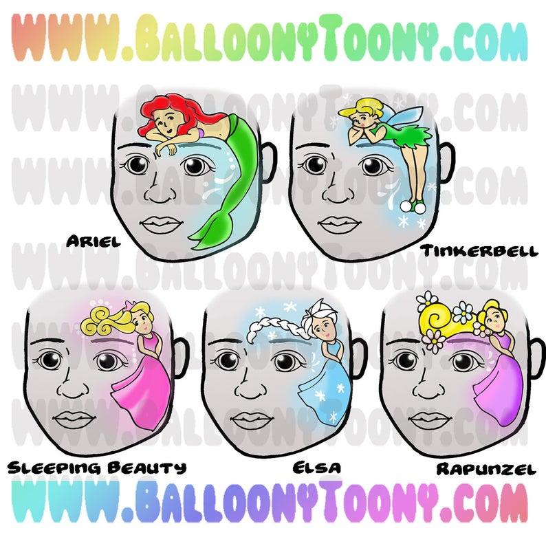 Face Paint Menu Page Of Princess Faces 6 Image Bundle Face Etsy Princess Face Face Painting Designs Happy Paintings