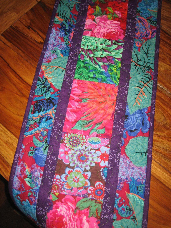 Quilted Table Runner , Kaffe Fassett Pink Blue Green Purple, Paisley Purple Blue, Boho Runner, Abstract Tablerunner, Bold Flower Handmade by TahoeQuilts on Etsy