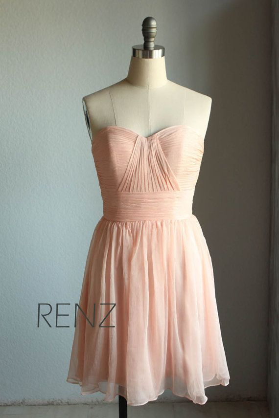Bridesmaid Dress/  /sweetheart strapless /Peach par RenzRags, $98.00