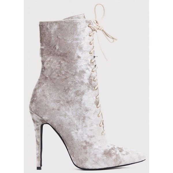 Savia Champagne Crushed Velvet Lace Up Heeled Boots (€48) ❤ liked on Polyvore featuring shoes, boots, yellow, lace up boots, laced up boots, pointy toe shoes, champagne shoes and faux-fur boots