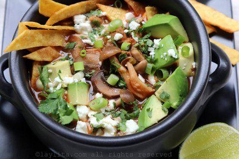 Mushroom tortilla soup