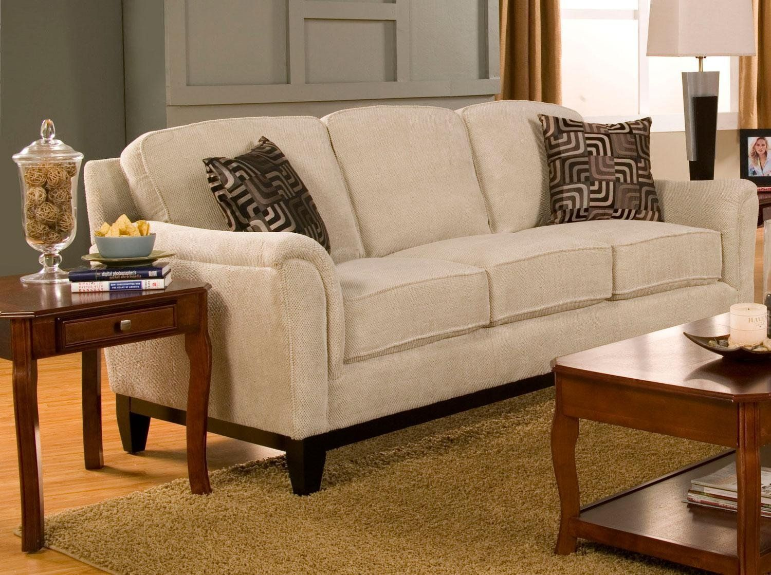 Carver Casual Style Sofa Group In Soft Beige Chenille By Coaster