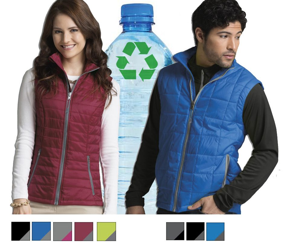 Custom embroidered recycled quilted vest is ultra lightweight and packable. 100% Dobby Polyester shell is made exclusively from recycled PET bottles. Certified and guaranteed recycled. Lined with PrimaLoft® SPORT (60 gm²) for premium insulation performance.