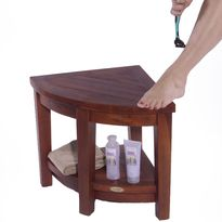 Decoteak Oasis 2 Tier Teak Corner Shower Shaving Foot Stool And