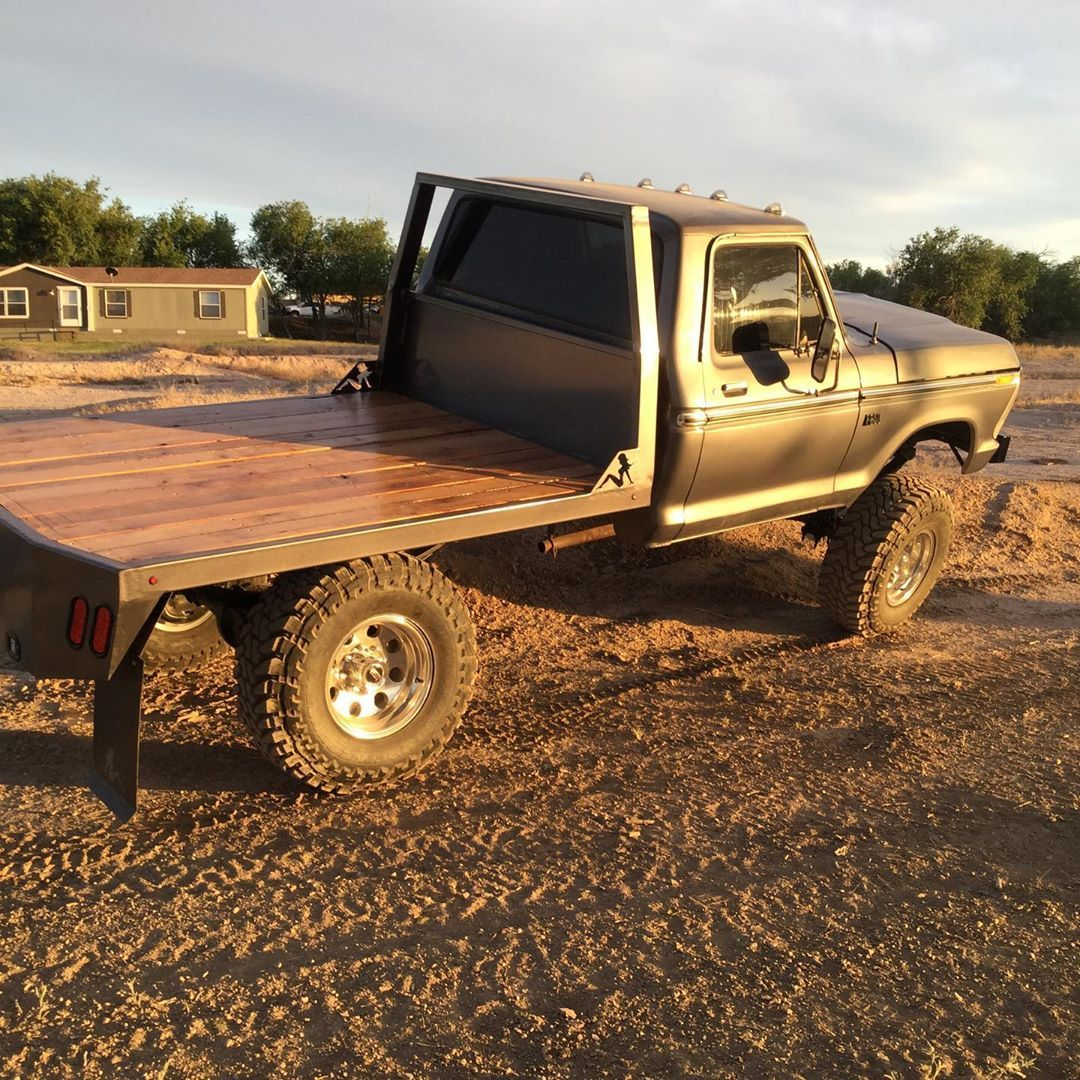 Finished Building The Flatbed For My Truck Looks Great Just Alot More Work Than I Thought At First Flatbed For Truck Flatbeds Ford Trucks Ford Pickup Trucks