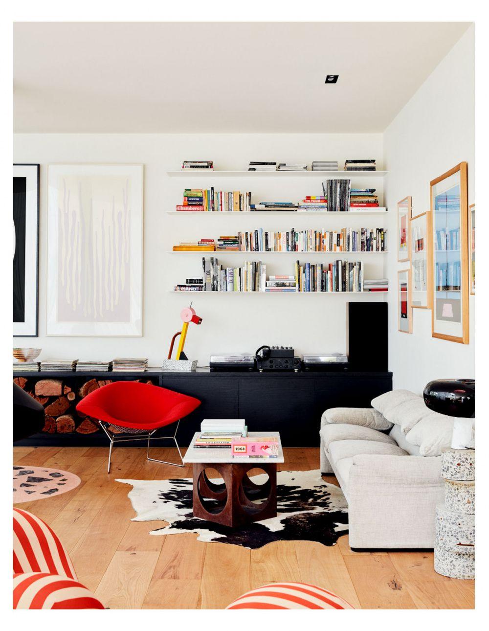 Black media shelf white open shelving white black red living room modern design