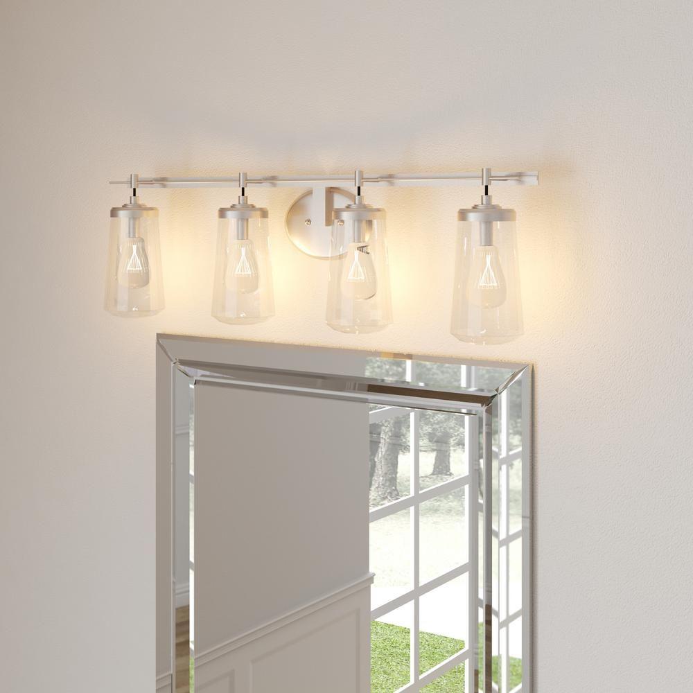 Minka Lavery Poleis 4 Light Brushed Nickel Bath Light 2304 84 With Images Brass Vanity Light Vanity Lighting Bathroom Light Fixtures