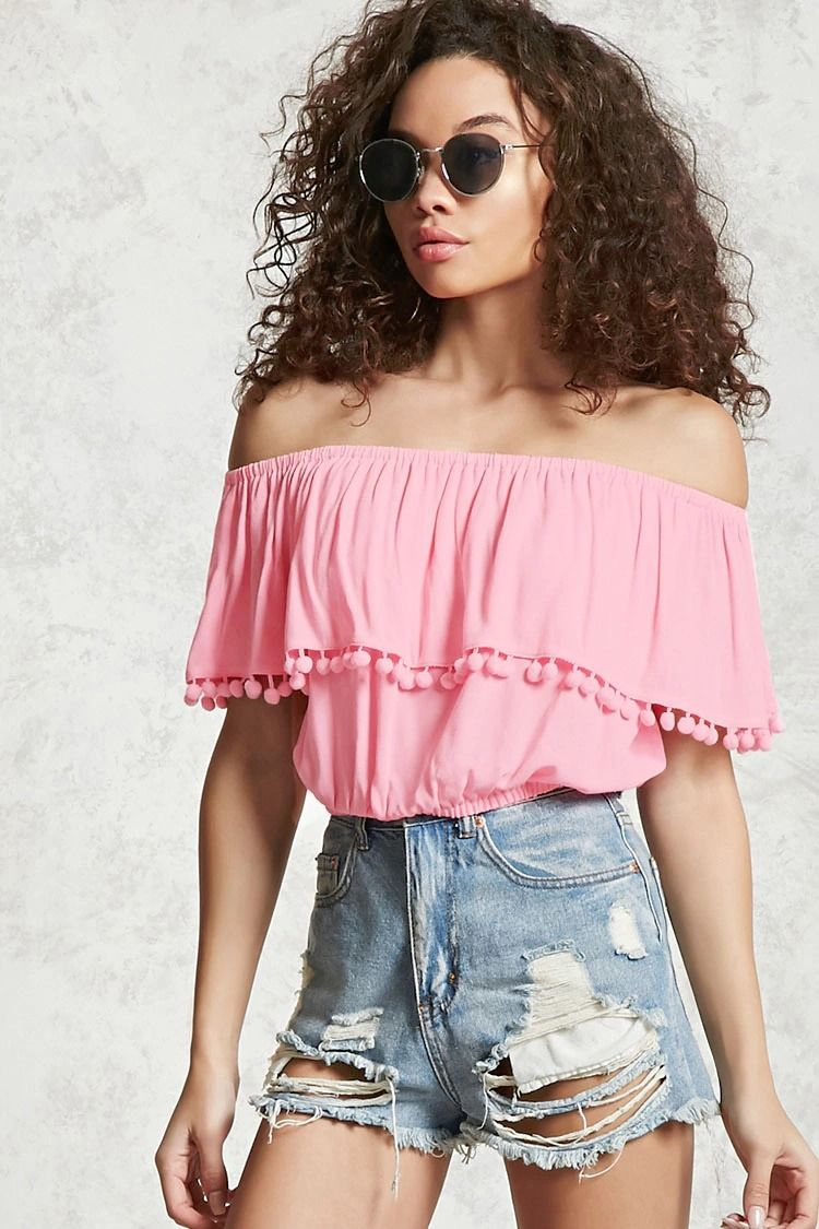 f4193fd57bf Forever 21 Contemporary - A woven crop top featuring an off-the-shoulder  design and a flounce layer with a pom pom trim creating short sleeves.