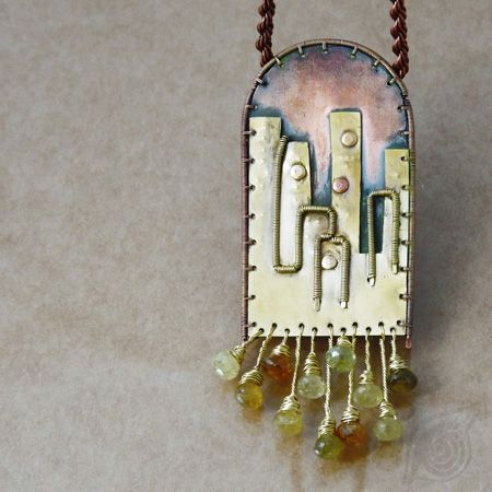 City (necklace); copper, brass, green garnet; green and black patina, wire-wrapping; by Nady (http://www.nady.cz/nahrdelniky/city-nahrdelnik-232/)
