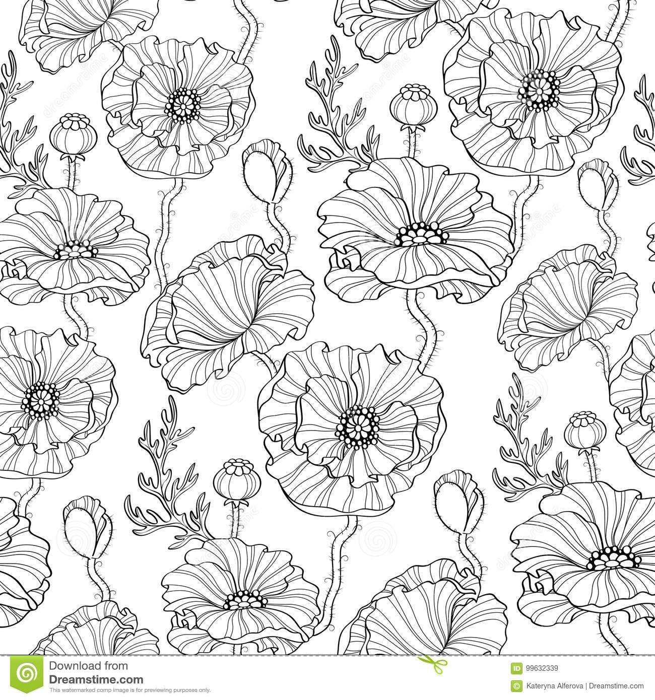 Seamless Pattern With Poppy Flowers Floral Background Black And