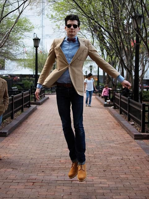 da4ae1b074f0 With blue shirt jeans camel jacket and bow tie - Styleoholic ...