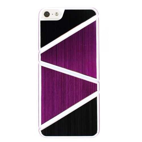 Unlimited Cellular Hybrid Novelty Case for Apple iPhone 5 / 5S (Black/Purple Triangles)