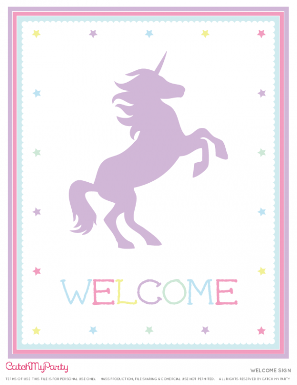 free unicorn party printables welcome