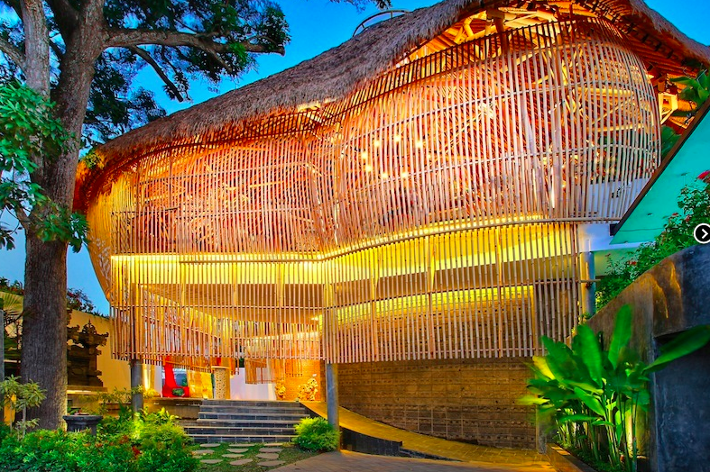 This unique exterior belongs to the Del Mango Villa Estate, Seminyak, Bali, Indonesia.