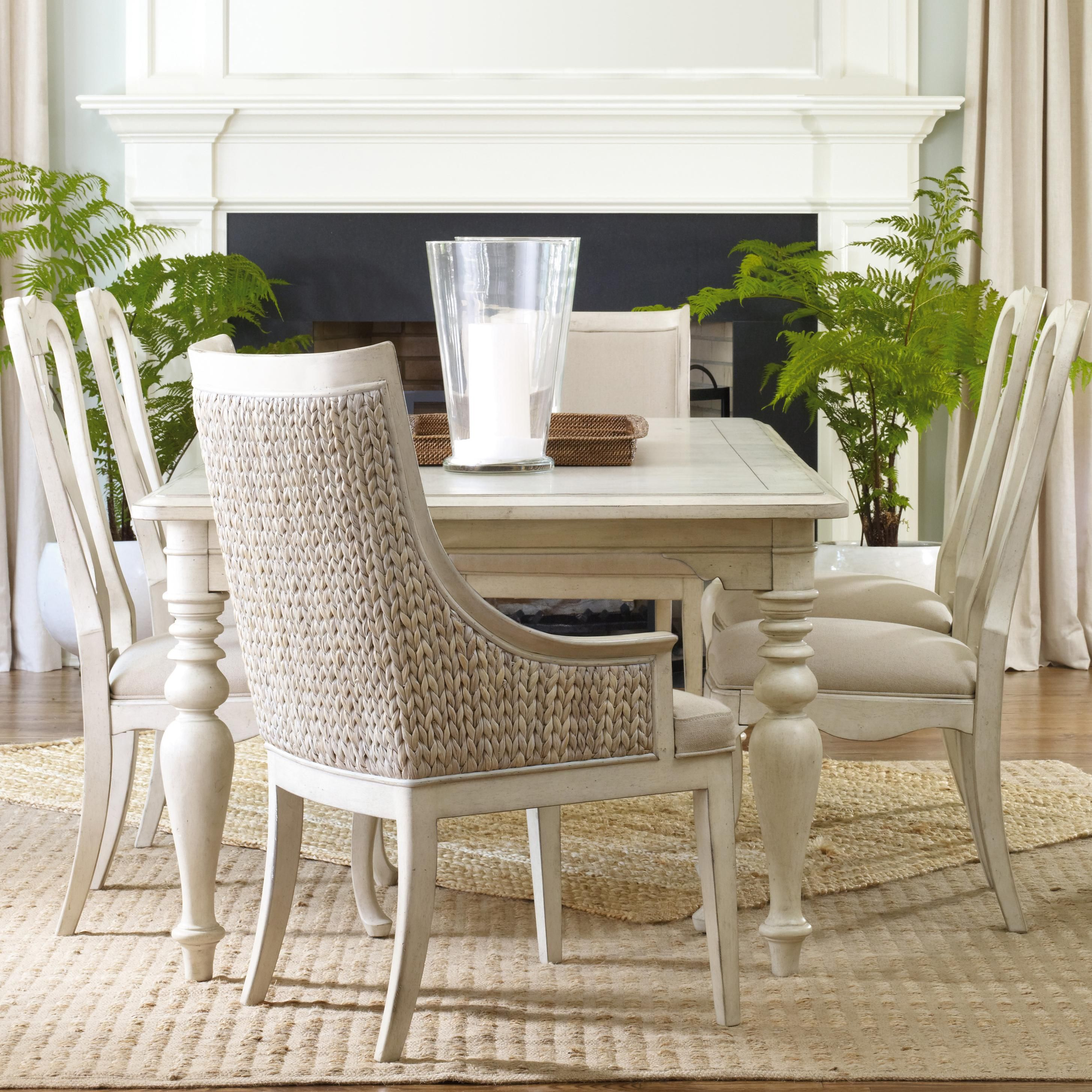 Harbour Pointe Seven Piece Rectangular Turned Leg Table With Woven Back  Host Chairs Queen Anne Side Chairs Set By Hooker Furniture   Barrow Fine  Furniture ...