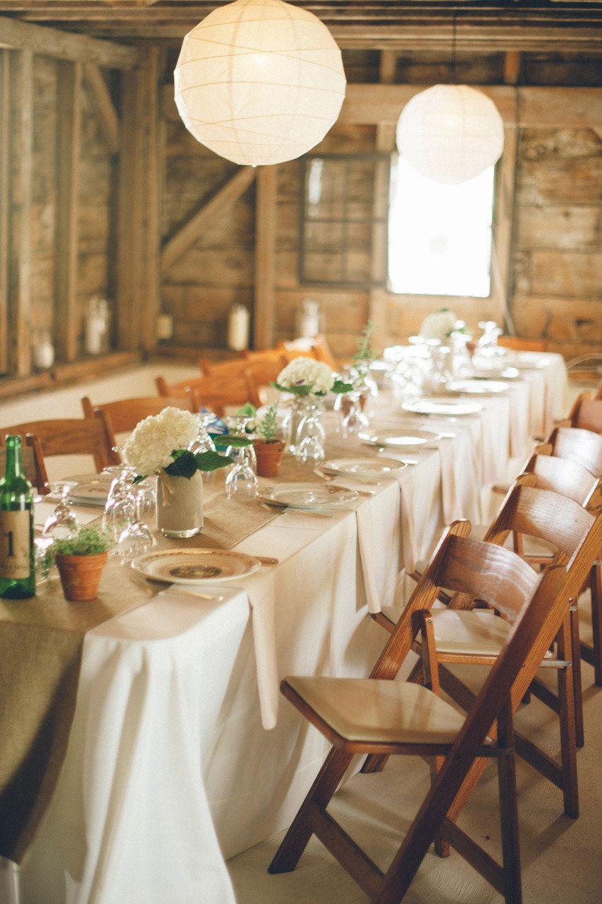 Barn wedding table settings  Upstate New York Barn Wedding from Jillian Mitchell  Floral designs
