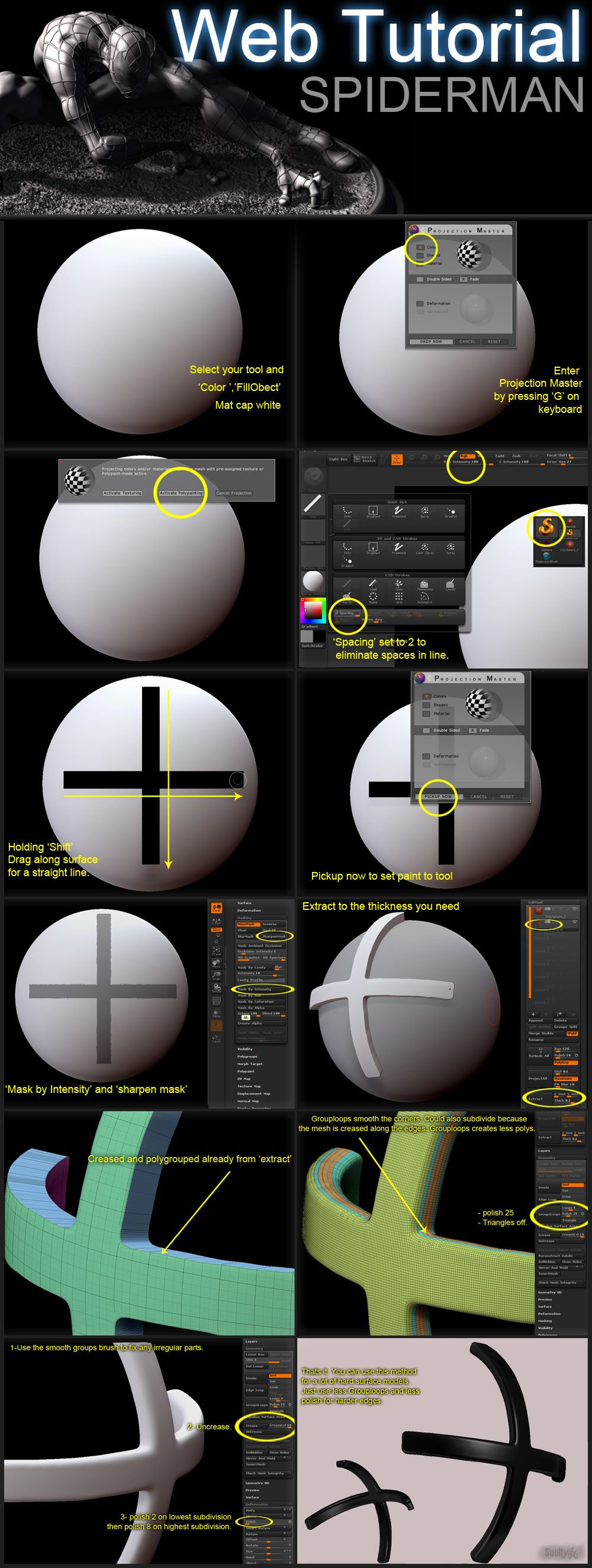 ZBRUSH tutorial by ~soulty666 on deviantART #3d #sculpting #tutorials