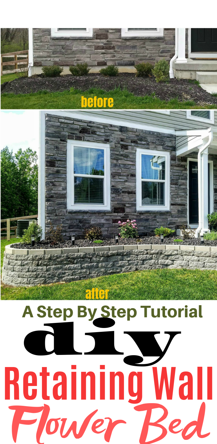 front yard flower bed makeover to add curb appeal with lava rock and a stone block retaining wall. + flowerbed + landscaping + curb appeal Flower bed makeover in full progress + raised bed + in front of house  + garden + diy #flowerbeds