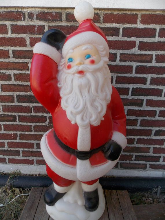 Vintage Plastic Outdoor Christmas Decorations.Large 40 Blow Mold Santa Waving Christmas Blow Mold General