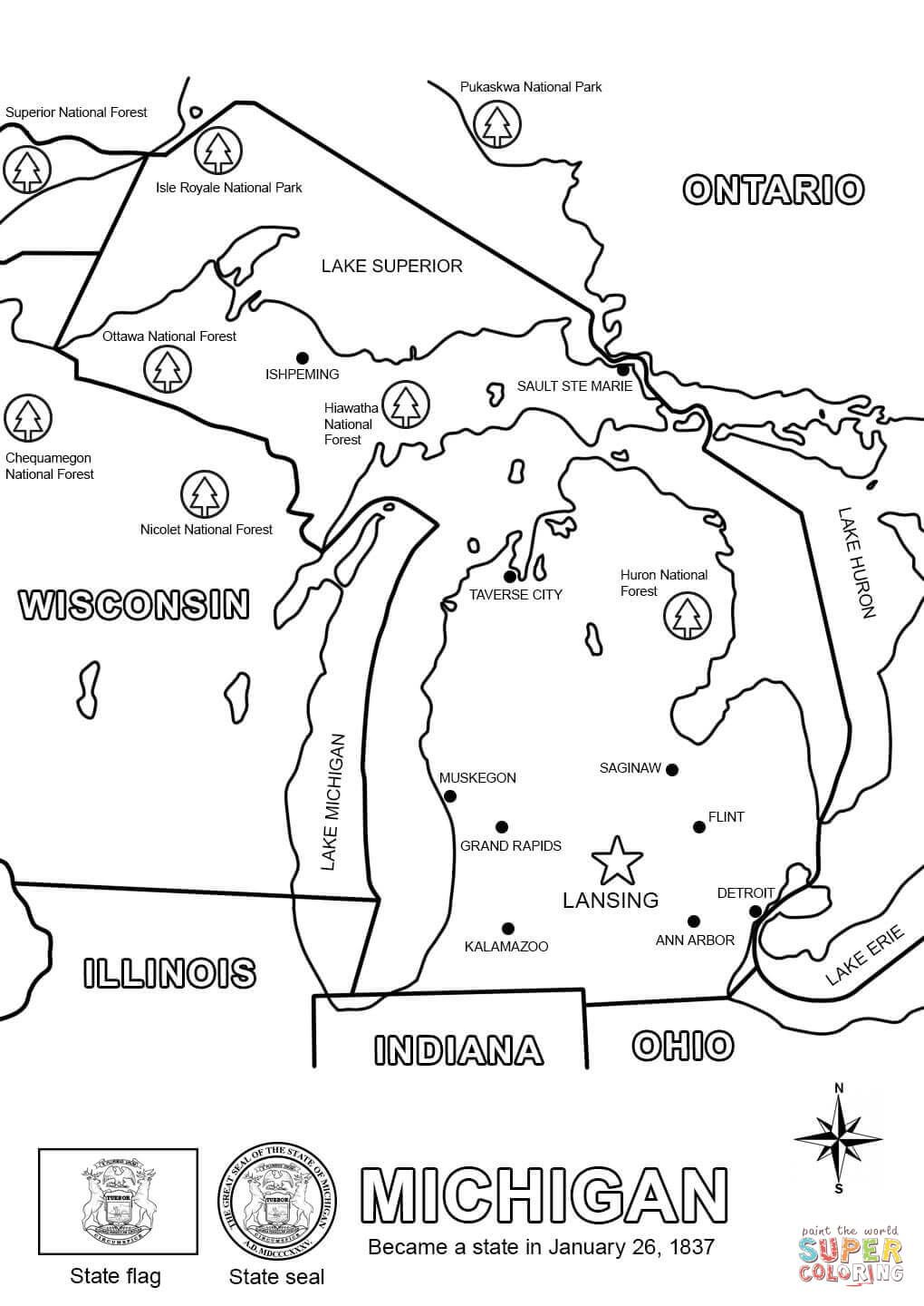 Michigan Map Coloring Page Free Printable Coloring Pages World