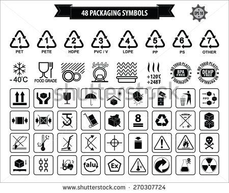 Set Of Packaging Symbols This Side Up Handle With Care Fragile