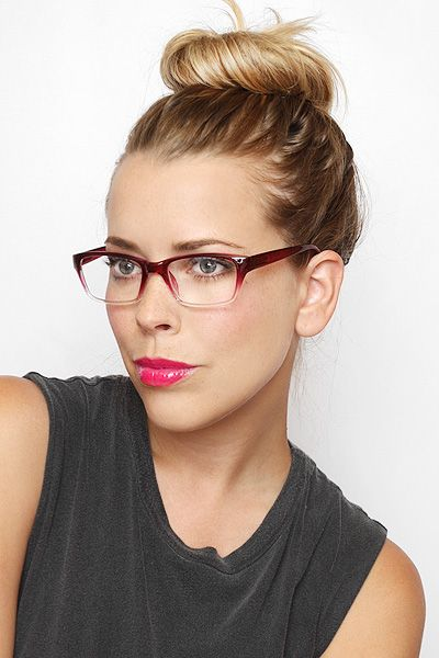 gradient frame megan skinny clear glasses black