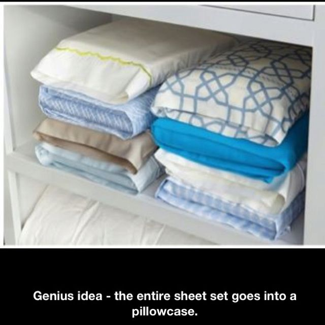 Place your entire sheet set in the pillow cases !!