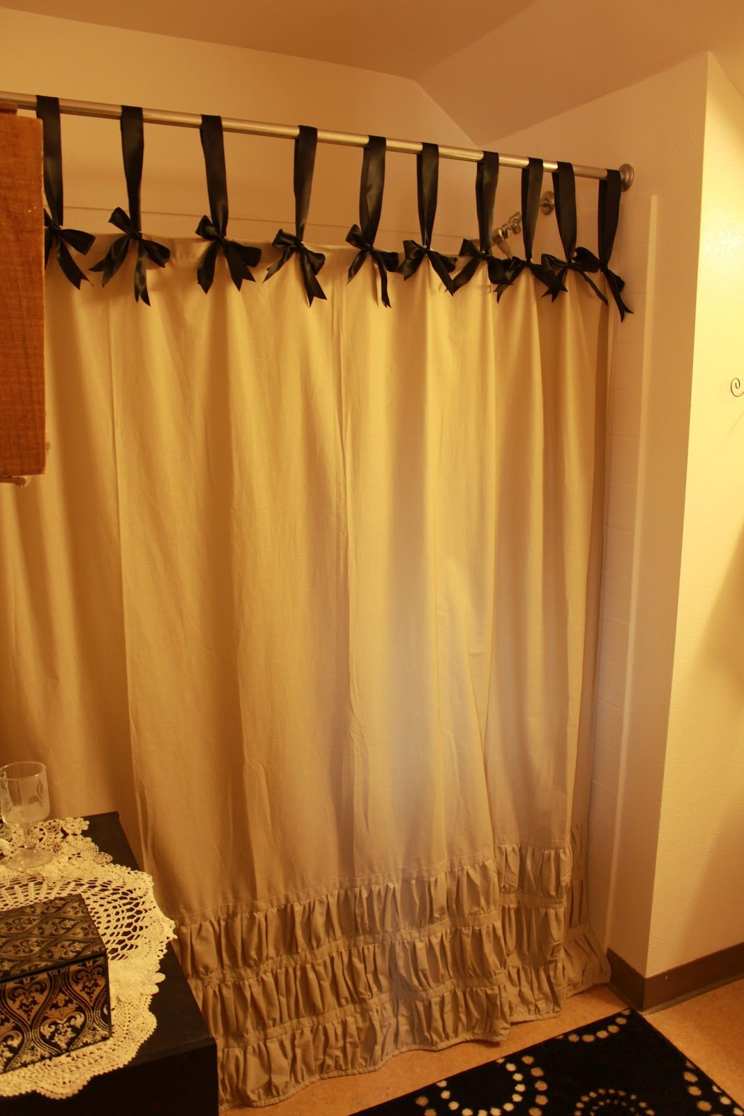 Diy black ribbon curtain ringsalso if you need to