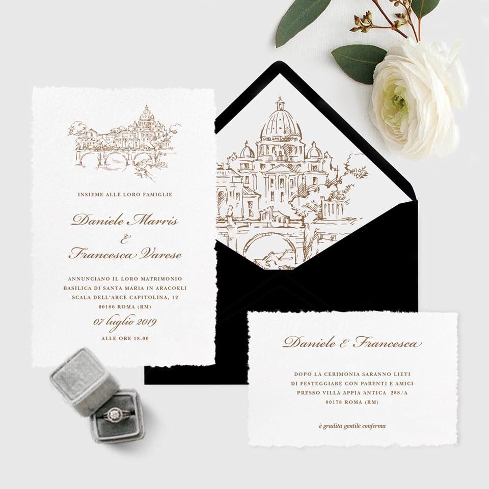 Partecipazioni Matrimonio Varese.Partecipazione Di Matrimonio Con Tema La Citta Eterna Roma