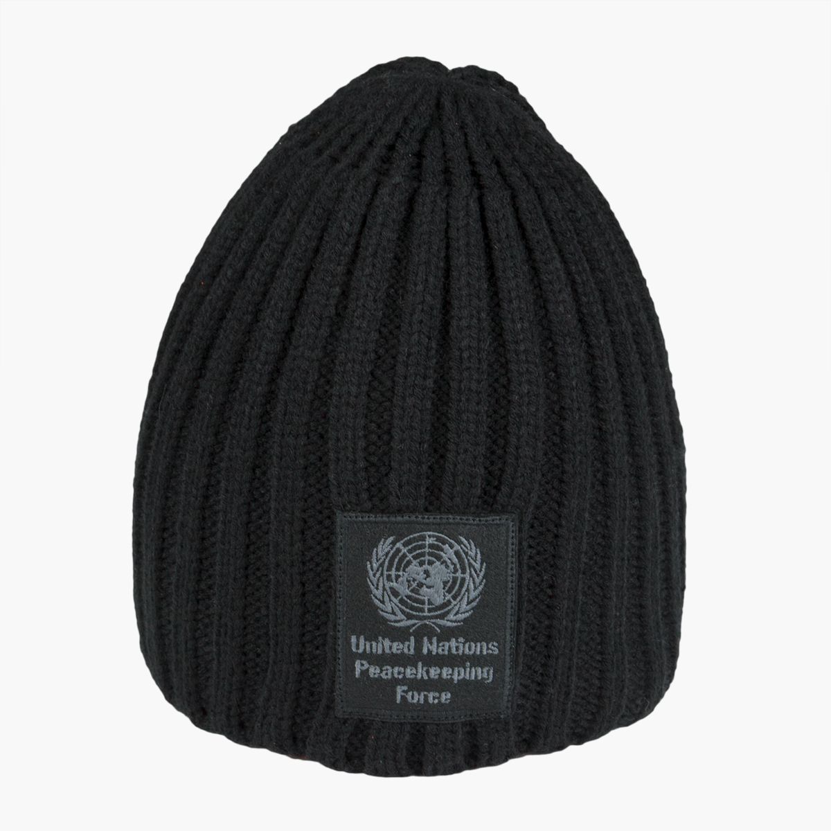 "#Hat - Black - #Peacekeeper - Soft hat with ribbed tricot with patch dedicated to ""United Nations Peacekeeping Force""."