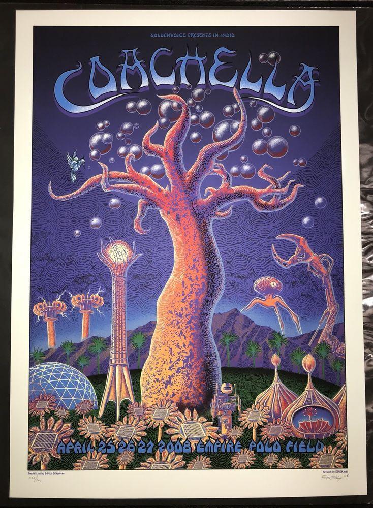 Coachella 2008 Emek Poster Print Empire Polo Club Indio Ca Glow In