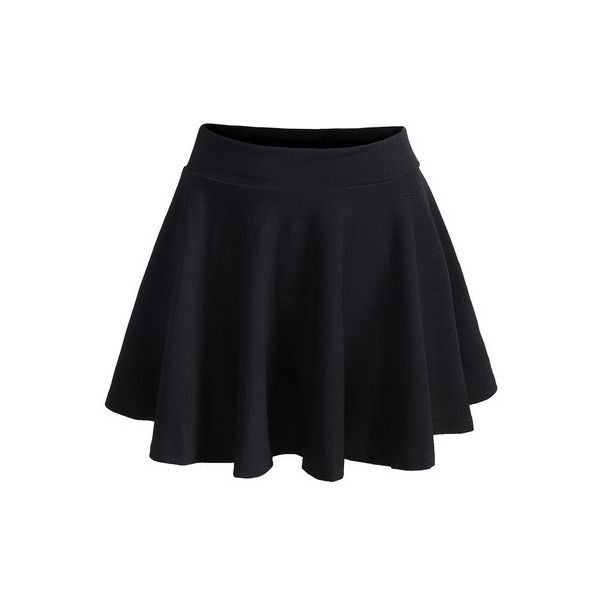 e130d83cb9fc8 SheIn(sheinside) Elastic Waist Pleated Black Skirt ($9.99) ❤ liked ...