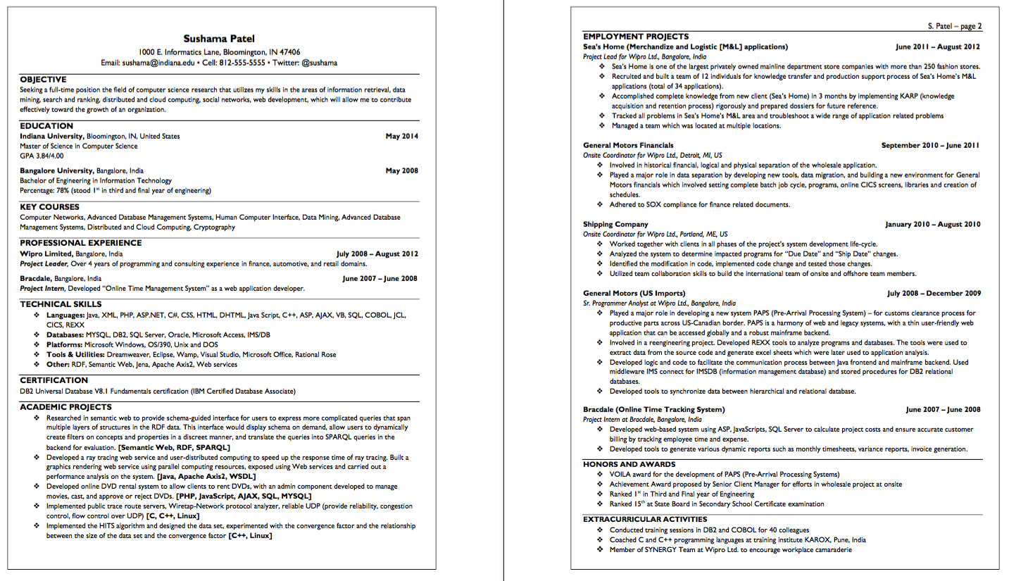 Sample Resume for Computer Science Research - http://exampleresumecv ...