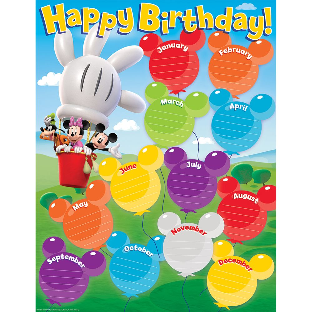 Mickey Mouse Clubhhouse Birthday Chart Eureka School