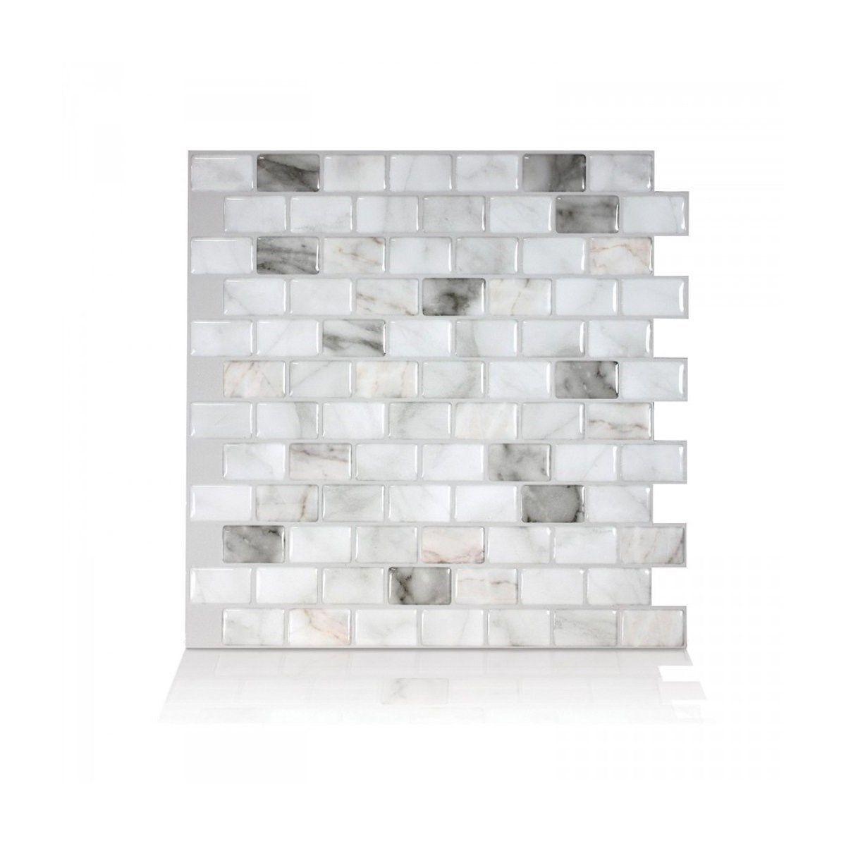 Carrelage Mural Adhesif 3d Smart Tiles Ravenna Blanc X6 Taille