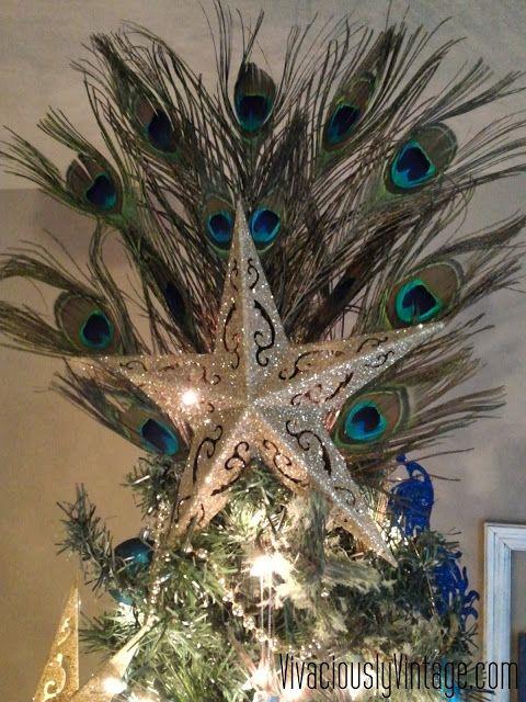 DIY Dollar Tree Peacock Christmas Tree Topper! Christmas Stuff - peacock christmas decorations