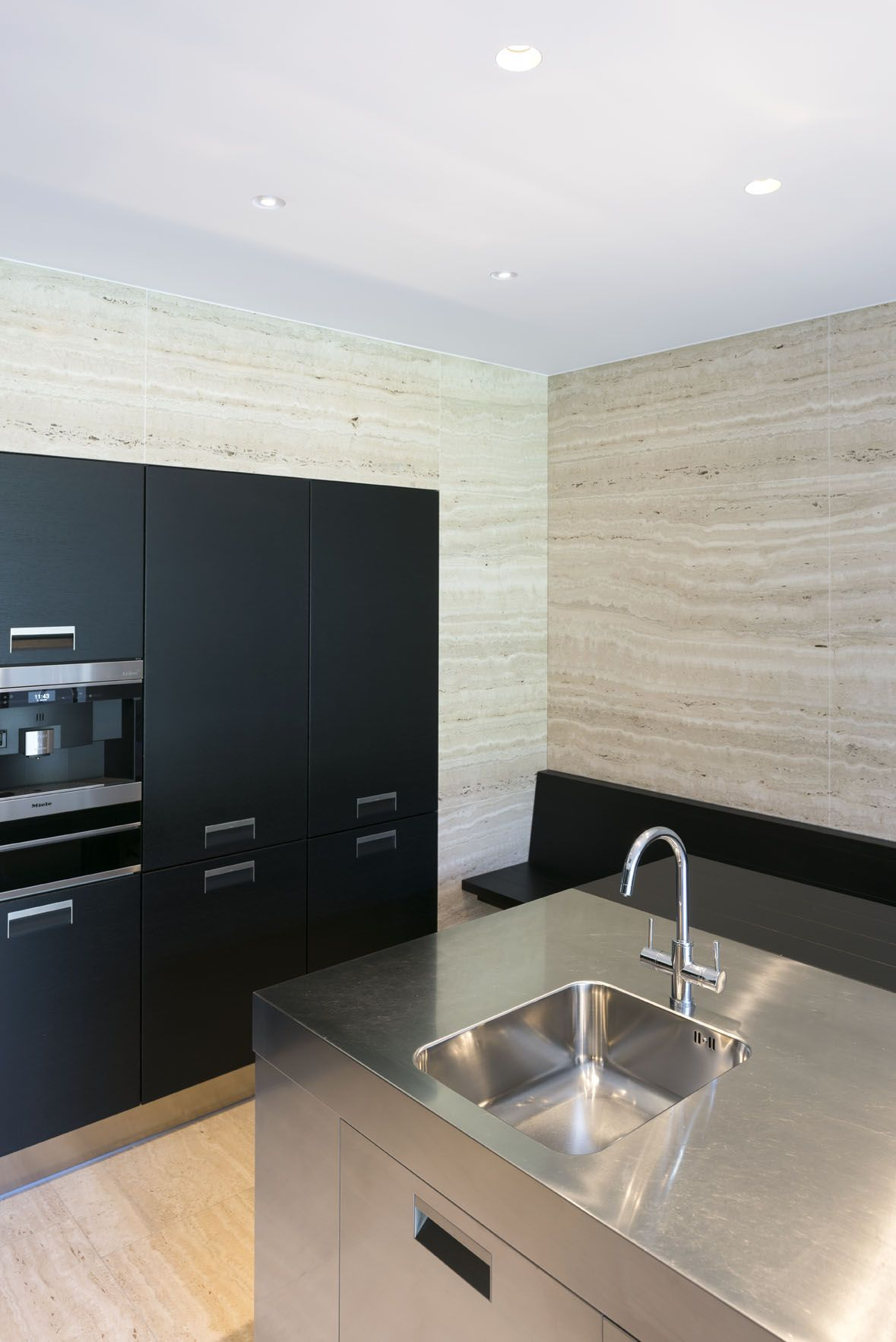 Beautiful Black Kitchen With Trimless Recessed LED Spotlights - Black kitchen spotlights