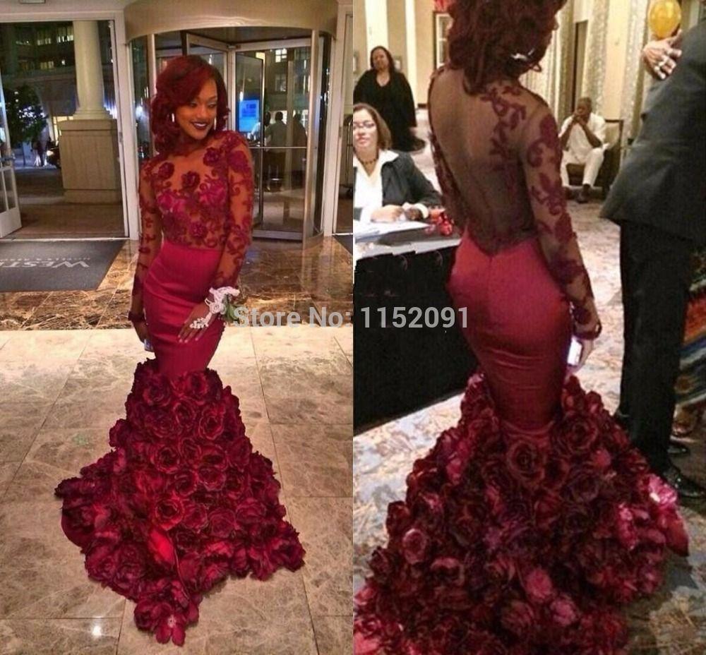 Long sleeve burgundy prom dresses mermaid designer hand made