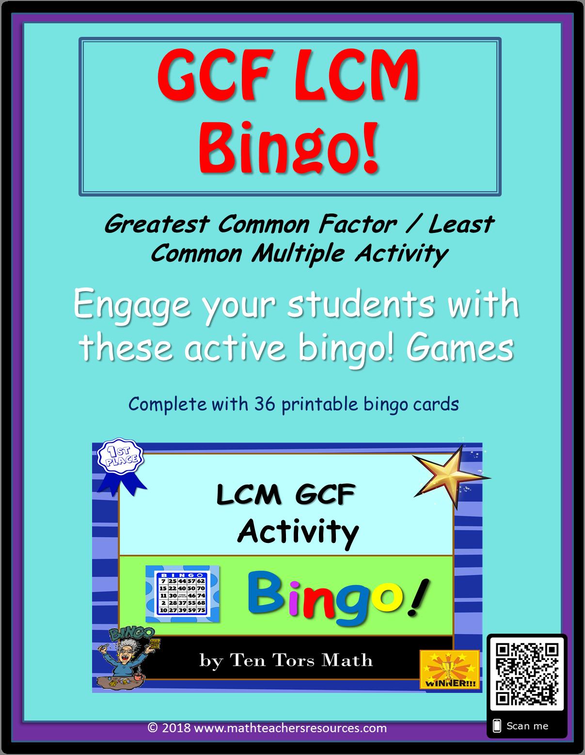 Gcf Amp Lcm Bingo Activity