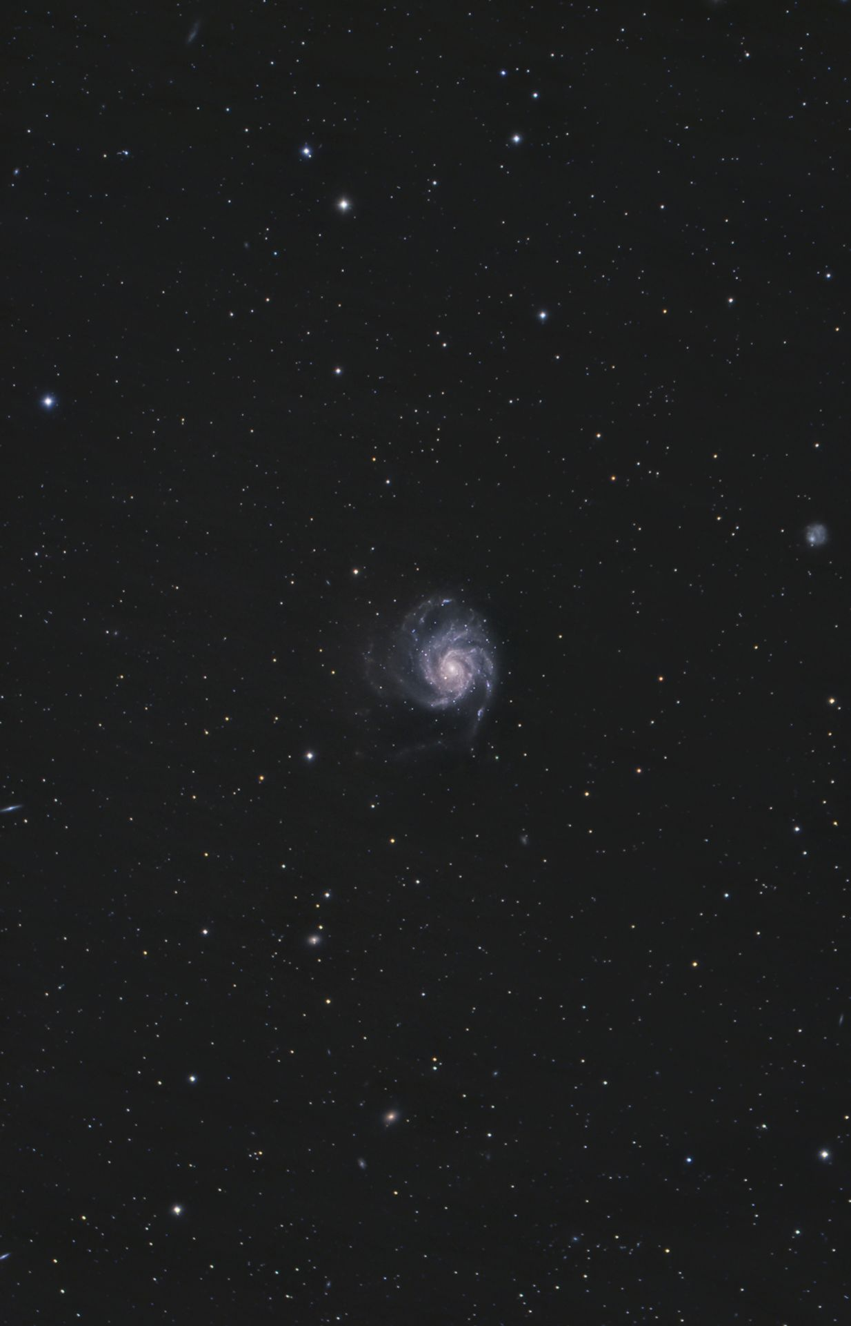 The spiral galaxy known as Messier 101 is located near the handle of the Big Dipper!