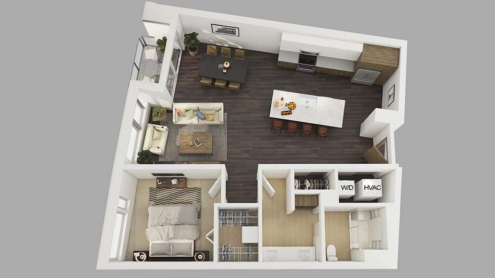 Pin By Powerrendering On 3d Floor Plans 1 Bedroom Apartment Bedroom Apartment Renting A House