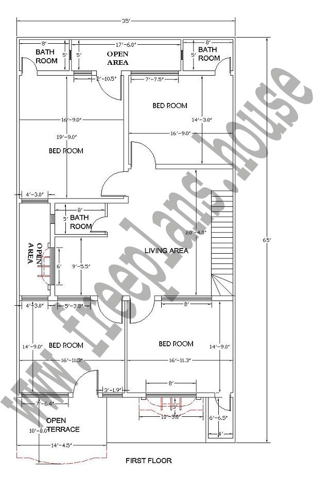 1st floor 35a 65 feet 211 square meters house plan