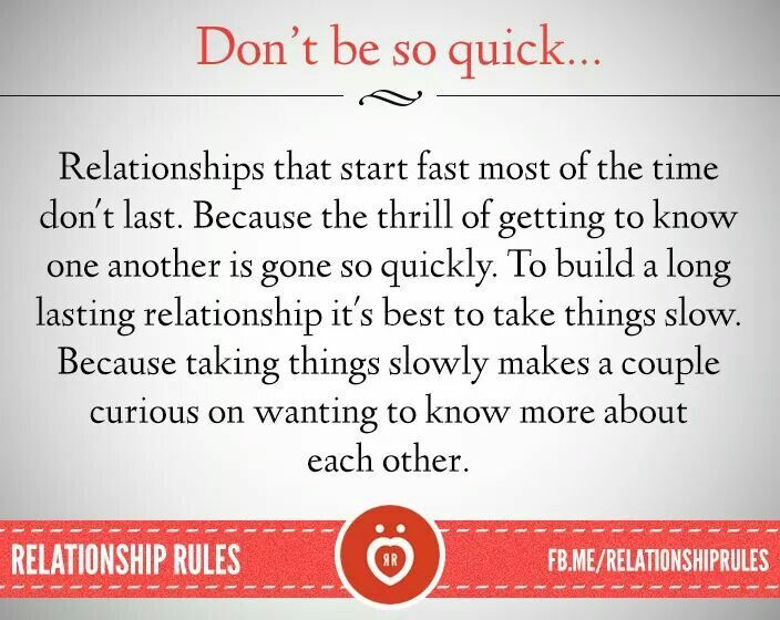 is taking things slow in a relationship a good thing