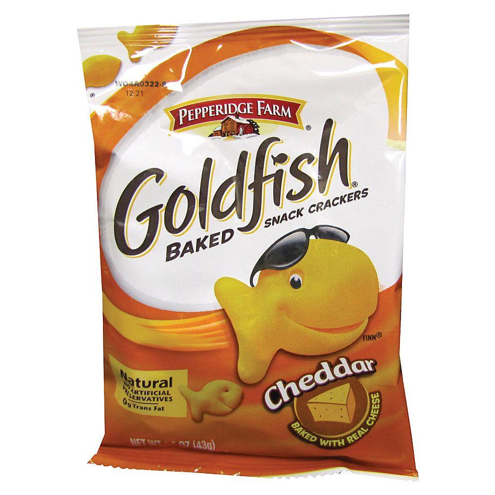 Pepperidge Farm Goldfish Shaped Crackers, Cheddar, 1.5 Oz, Carton Of 72